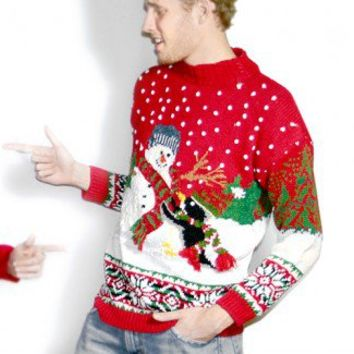Shop Now! Ugly Sweaters: Penguin and Snowman Chunky Knit Tacky Ugly Christmas Sweater Women's Medium/Large (M/L) $30 - The Ugly Sweater Shop