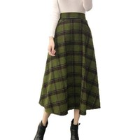 Plaid Skirt Women Long A-Line Skirt British Style Woolen Plaid Skirt Winter Vintage Wool Elasticity High Waist OL Pleated Skirts
