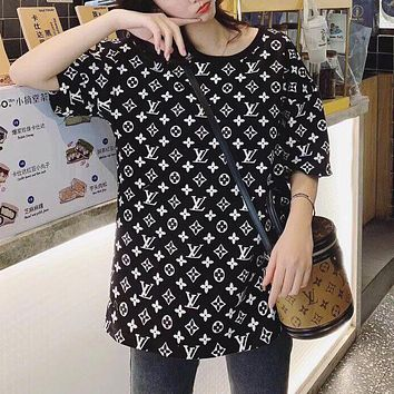 Louis Vuitton LV New Couple's Printed Letters Casual Sneakers T-Shirt