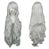 MapofBeauty Silver White Long Curly Cosplay Wig Costume Wigs