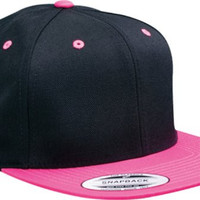 Yupoong Wool Blend Snapback Two-tone Cap 6098mt (Black,neon Pink)