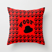 Paw Print - Woof Throw Pillow by Alice Gosling | Society6