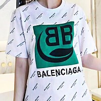 BALENCIAGA Summer Women Men Casual Print T-Shirt Top Blouse