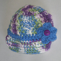Blueberry PUNCH Baby Girls Brimmed Hat with removable Flower Hair clip (0-6) months