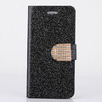 Luxury Leather Phone Cases For iPhone 6 6S Fashion Women Girl Bling Diamond Glitter Flip Smartphone Case Stand Wallet Cover