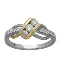 Lord & Taylor 14 Kt. Yellow Gold and White Gold Diamond Ring