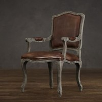 Vintage French Camelback Leather Armchair   Dining Chairs   Restoration Hardware