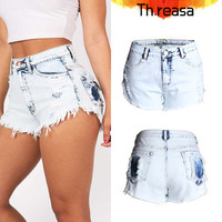 Hot Popular Women Straight Tassels Button Destroyed High Waist Boyfriend BF Ripped Jeans Shorts Trousers Hotpants  _ 8177