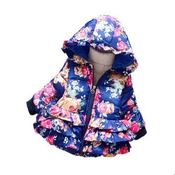 Kids Girls Warm Thick Hooded Floral Down Coat Children Warm Jacket Snowsuit Outwear Clothes SM6