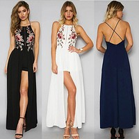 Fashion Embroidery Flower Backless Sleeveless Strap Hem Split Maxi Dress