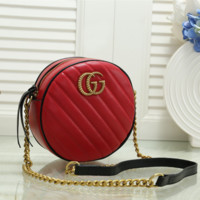 Gucci Women Fashion Leather Round Chain Crossbody Shoulder Bag