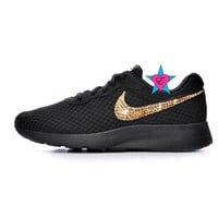 Black Sole Gold Crystal Sneakers Bling Nike Tanjun Shoes