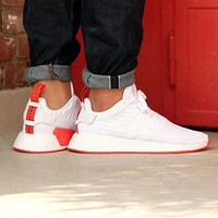 Adidas NMD R2 PK Footwear White/Core Red Boost Sport Running Shoes Classic Casual Shoes Sneakers