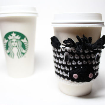 Zebra Coffee Cozy, Crochet Coffee Sleeve, Animal Can Koozie, Travel Mug Cup Holder, Drink Sleeve