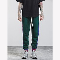 Men Casual Letter Stripe Pants Trousers Sweatpants