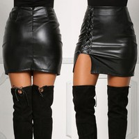 Faux Leather High Waist Skirt