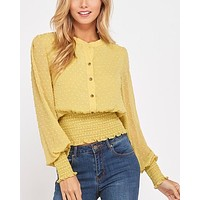 Swiss Dot Button Down Sheer Sleeve Blouse with Smocked Waist in Yellow Lime