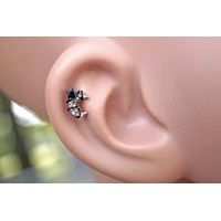 Sparkly Black Star Moon Stud Cartilage Earring Piercing 16g