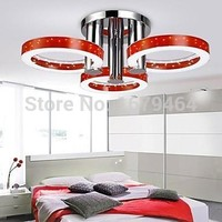 Red Color with 3 lights (Chrome Finish)  Ceiling Lights