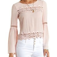 Bell Sleeve Crepe & Crochet Blouse by Charlotte Russe