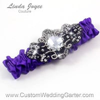 Purple and Black Vintage Wedding Garter Bridal 465 Eggplant Prom Garter Jewel Couture Beaded Luxury Plus Size & Queen Size Available
