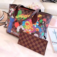LV women's new shopping bag handbags mother bag two-piece