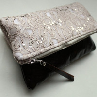 Lace and leather fold over clutch, sequin lace clutch