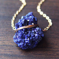 Moroccan Azurite Gold Necklace, Navy Blue