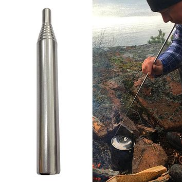 1pc Stainless Steel Outdoor Blowing Torch Adjustable Camping Hiking Pocket Bellows Collapsible Campfire Blowing Fire Stick