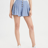 AE Pleated Button Front Short, White