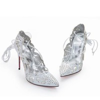 CL Christian Louboutin Fashion Pointed Toe Hollow Out Heels Shoes-1