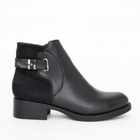 Missguided - Stephanie Contrast Panel Buckled Ankle Boots