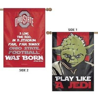 "OHIO STATE BUCKEYES STAR WARS PLAY LIKE A JEDI 28""X40"" DOUBLE SIDED BANNER FLAG"