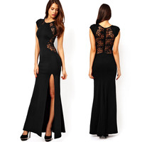 Sexy Women\'s Fashion Lace & Knitting Patchwork Back Waist Hollow Out Solid Black Slim Side Slit Open Long Dress WE1320