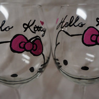 Outline Hello Kitty Wine Glass -  Hand Painted Wine Glass