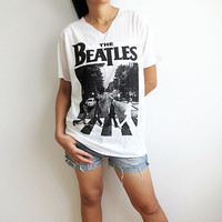 The Beatles Abbey Road UK Classic Rock White Women V Neck T-Shirt Size L