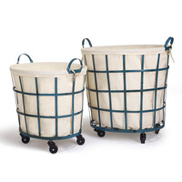 Round Rolling Laundry and Storage Baskets - Beige Lining / Window Pattern / Teal Blue (Set of 2)