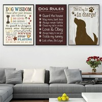 Vintage Poster Prints I Love My Dog Wisdom Canvas Pictures for Living Room Home Decor Hanging Wall Art Quotes Drop Shipping