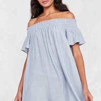 Cooperative Striped Off-The-Shoulder Flutter Sleeve Dress - Urban Outfitters