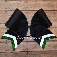 """3"""" Black Team Cheer Bow with White and Silver Glitter Tail Stripes"""