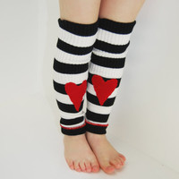 Leg Warmers for Toddlers in Black and White Stripes with Red Hearts - Recycled Sweaters - Eco Friendly
