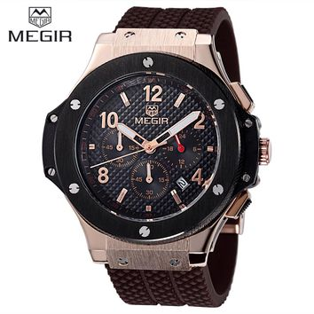 Relojes hombre new fashion military stylish MEGIR brand mens army calendar rubber men male clock sport luxury watch militar