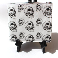 Original Skull Pattern Fabric Print- Bifold Wallet with Six Card Slots and Full Sized Billfold- FREE SHIPPING to U.S. Addresses
