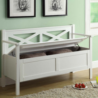 Monarch Specialties White Solid Wood Storage Bench