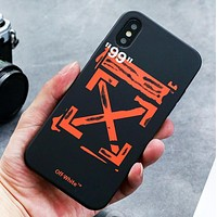 Off White Fashion New Letter Arrow Print Women Men Phone Case Protective Cover Black