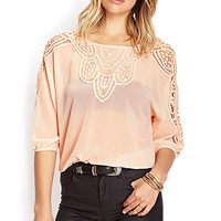 FOREVER 21 Crochet Lace Chiffon Top Seashell Pink