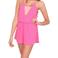 Hot Issue Romper - Hot Pink