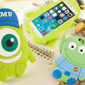 Monsters University Case For iPhone 5 5s SE 6 6S 6Plus 6S Plus 3D Cartoon Cute Cover Mr.Q Silicone Gel Soft Mobile Phone Cases