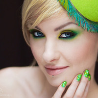 Spring Green Fascinator Headband - Easy to Wear - Head Piece - Peacock - Royal Ascot - Kentucky Derby Hats - Chartreuse Accessories