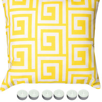 "Manual Woodworkers SLGKYW Yellow Greek Key 18"" x 18"" Climaweave Outdoor / Indoor Pillow with 6-Pack of Tea Candles"